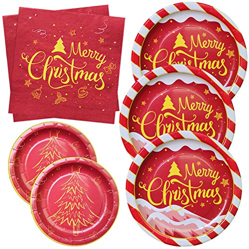NAIWOXI Christmas Paper Plates and Napkins Serves 50 Includes 50 Pcs 9'' Dinner Plates, 50 Pcs 7'' Dessert Plates and 100 Luncheon Napkins for Holiday Party Xmas Disposable Dinnerware Tableware Set