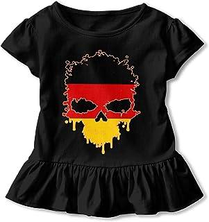 2-6T PMsunglasses Short-Sleeve Germany Skull Shirts for Girls Ruffled Tunic Tops with Falbala