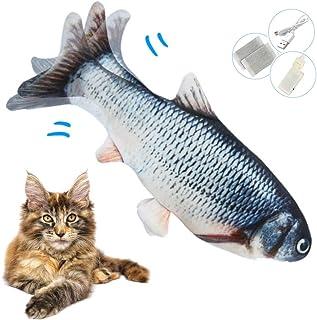 Zibnwee Elektrisch speelgoedvis, kattenmunt, elektrische vis, USB-kattenspeelgoed vis met kattenkruid voor kat en katten, ...