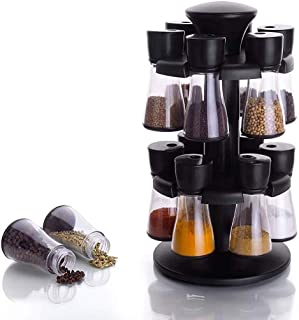 Kuber Industries Multipurpose Revolving Plastic Spice Rack 12 Pieces Masala Box/Condiment Set/Masala Boxes for Kitchen (Bl...