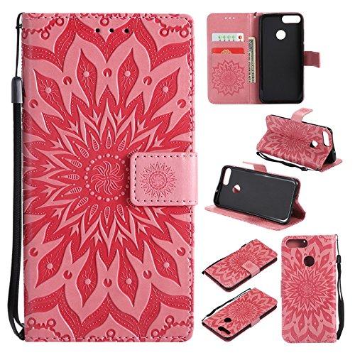 Preisvergleich Produktbild Hancda Hülle für Huawei Honor 9 Lite [Nicht für Honor 9],  Leder Hülle Flip Case Handytasche für Huawei Honor 9 Lite Handy Hüllen Lederhülle Magnet Cover für Huawei Honor 9 Lite, Blumen Rosa