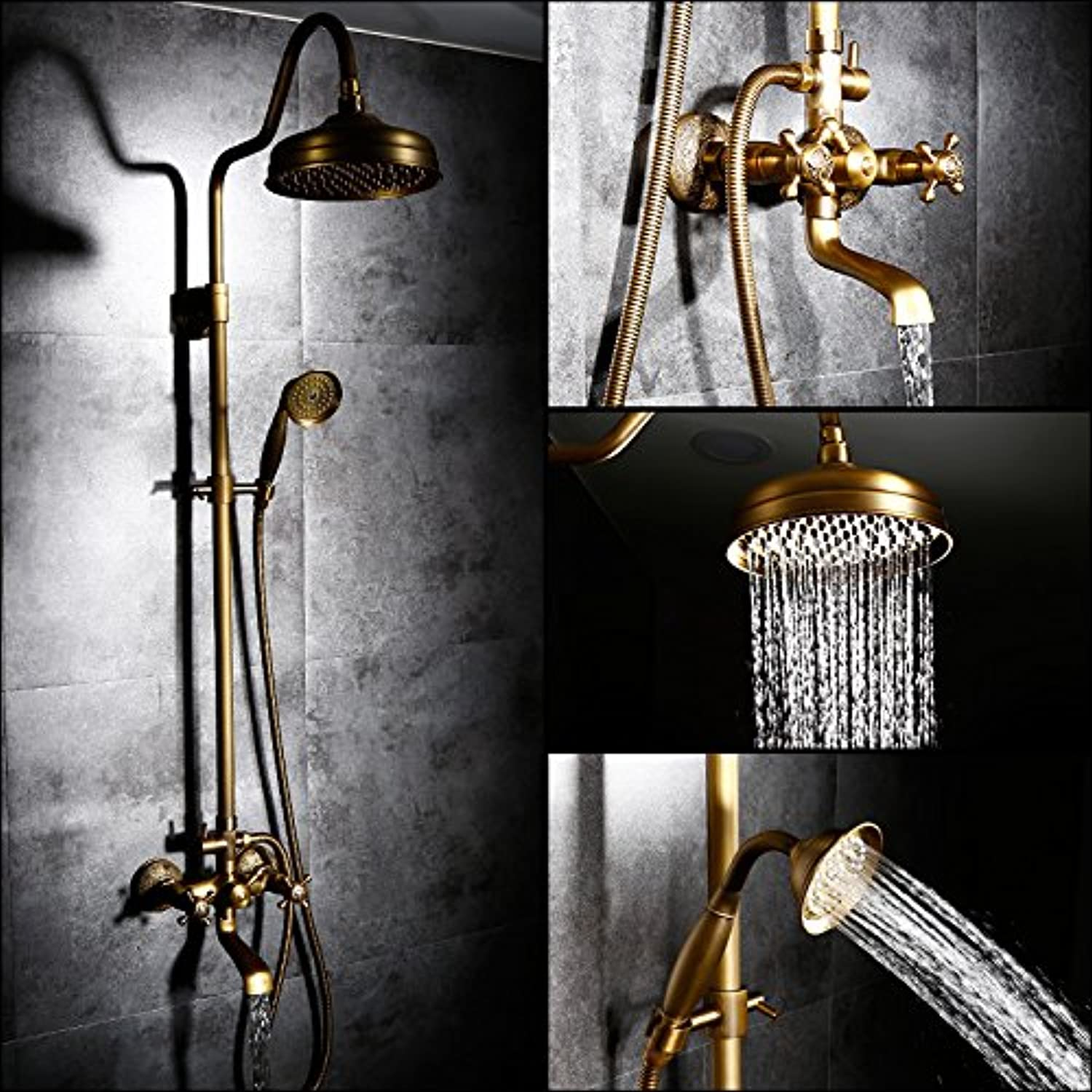 SADASD European Bathroom Shower faucet Copper Jade Shower golden Retro Antique Shower Set Shower faucet Hot and Cold Water Mixing Taps Ceramic Valve Tap With G1 2 Stainless Steel Hose