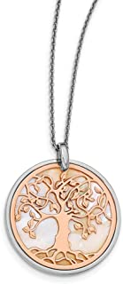Beautiful Sterling silver 925 sterling Leslie's Sterling Silver & Rose-tone MOP Tree of Life w/1in ext. Necklace