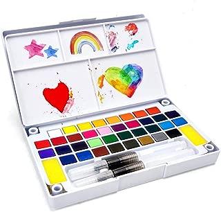 SAKEYR 36 Assorted Vivid Watercolor Paint Travel Set, Portable Watercolor Painting Kit with 2 Brush Pens, 2 Sponges, 1 Mix Palette, Watercolor Paint Platte for Artists, Beginners, Students