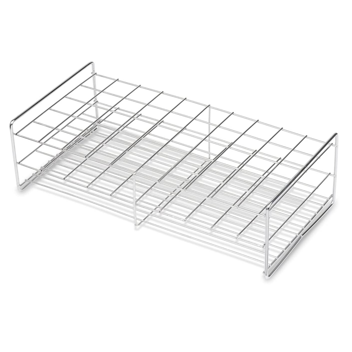 Stainless Steel Test Tube Rack, 30mm, 50 Place, Wire Constructed, Handles, Karter Scientific 235F3 (Single)