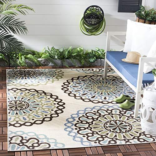 Safavieh Veranda Collection VER092 Boho Floral Indoor/ Outdoor Non-Shedding Stain Resistant Patio Backyard Area Rug, 8' x 11', Cream / Blue