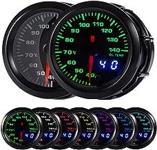 HOTSYSTEM 7 Color Oil Temperature Gauge Kit 40-140 Celsius Pointer & LED Digital Readouts 2-1/16