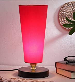 Ntu-231 red Cotton Shade Table lamp with Metal Base by tu casa Holder type-b-22 (Bulb not Included)
