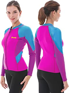 Women's Wetsuit Top, 2mm Neoprene Wetsuit Jacket Long Sleeve Front Zip Wetsuit Shirt for Diving Snorkeling Surfing Kayaking Canoeing