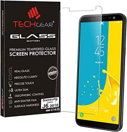 TECHGEAR Screen Protector for Galaxy J6 (SM-J600 Series) - GLASS Edition Genuine Tempered Glass Screen Protector Guard Cover Compatible with Samsung Galaxy J6 2018