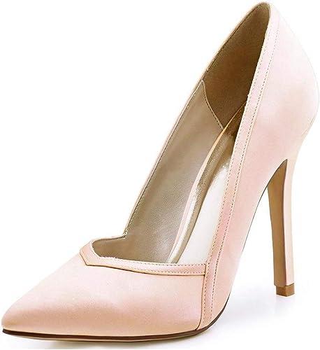 ZHRUI Les Les dames Pointues Orteil Stiletto Pompes à Talons Hauts (Couleuré   rose-10cm Heel, Taille   5.5 UK)