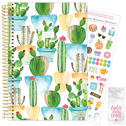 """bloom daily planners 2021 Calendar Year Day Planner January 2021 - December 2021 - 6"""" x 825"""" - WeeklyMonthly Agenda Organizer Book with Stickers Bookmark - White Cacti"""