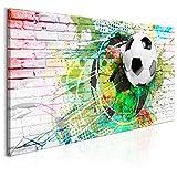murando - Bilder Fussball 140x70 cm Vlies Leinwandbild 1 TLG Kunstdruck modern Wandbilder XXL Wanddekoration Design Wand Bild - Ziegel Graffiti Fußball Kinder bunt weiß i-A-0136-b-a