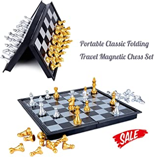 HoveBeaty Chess Set Portable Classic Folding Travel Magnetic Chess Set with Aluminum Plating, 9.7 x 9.7 x 0.8 Inch