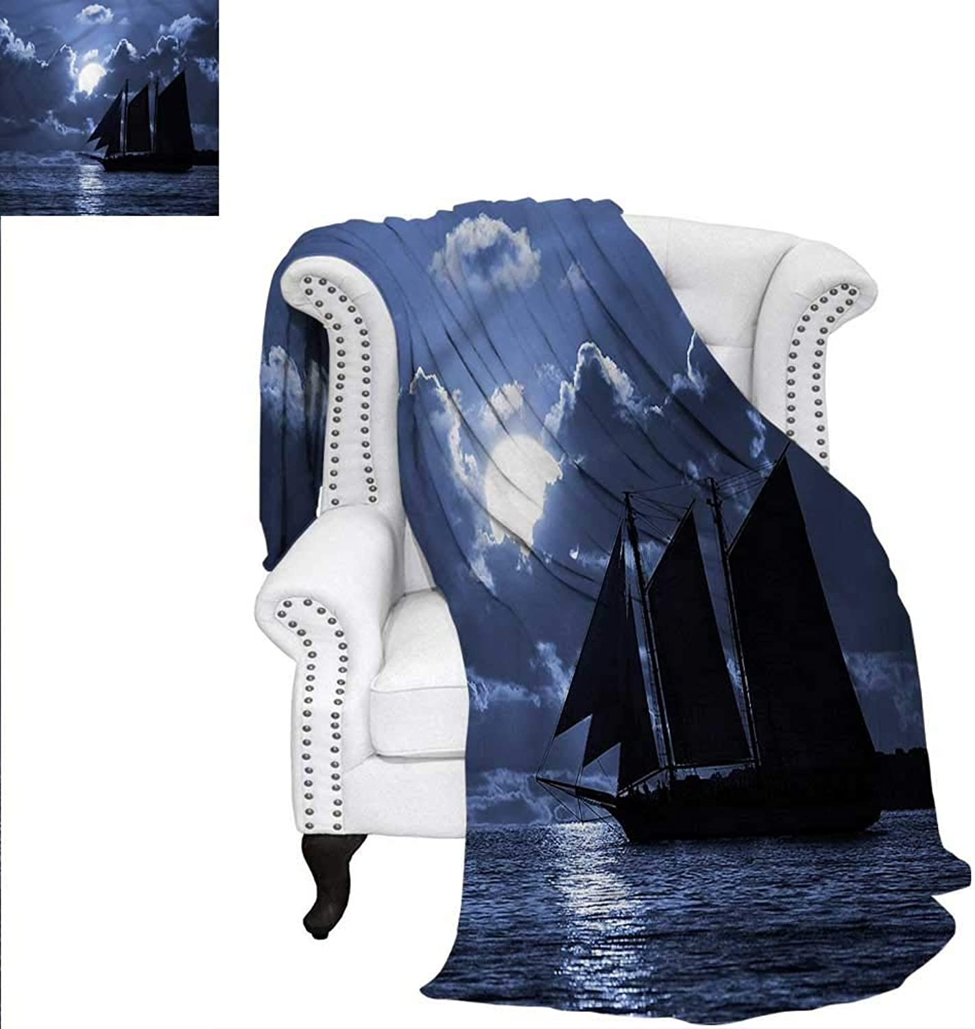 RenteriaDecor Pirate Blanket Sail Boat on Sea at Night Blanket 60 x50