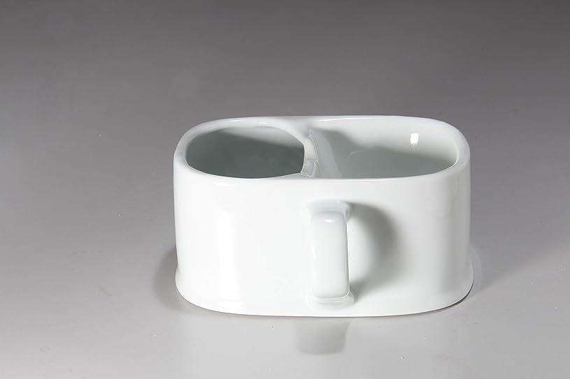 犯人複製する管理するシェービングカップ白磁 保温型 髭剃りクリーム 有田焼工場 泡たてメッシュ形状 業務用 (ホワイト)