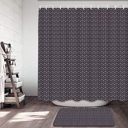 kThrones 2-teiliges Badvorleger-Set,Duschmatte+Duschvorhang,Dunkelblaue Ankergruppenkarte,rutschfeste Badvorleger für Küche,Dusche & Toilette(150x180cm)