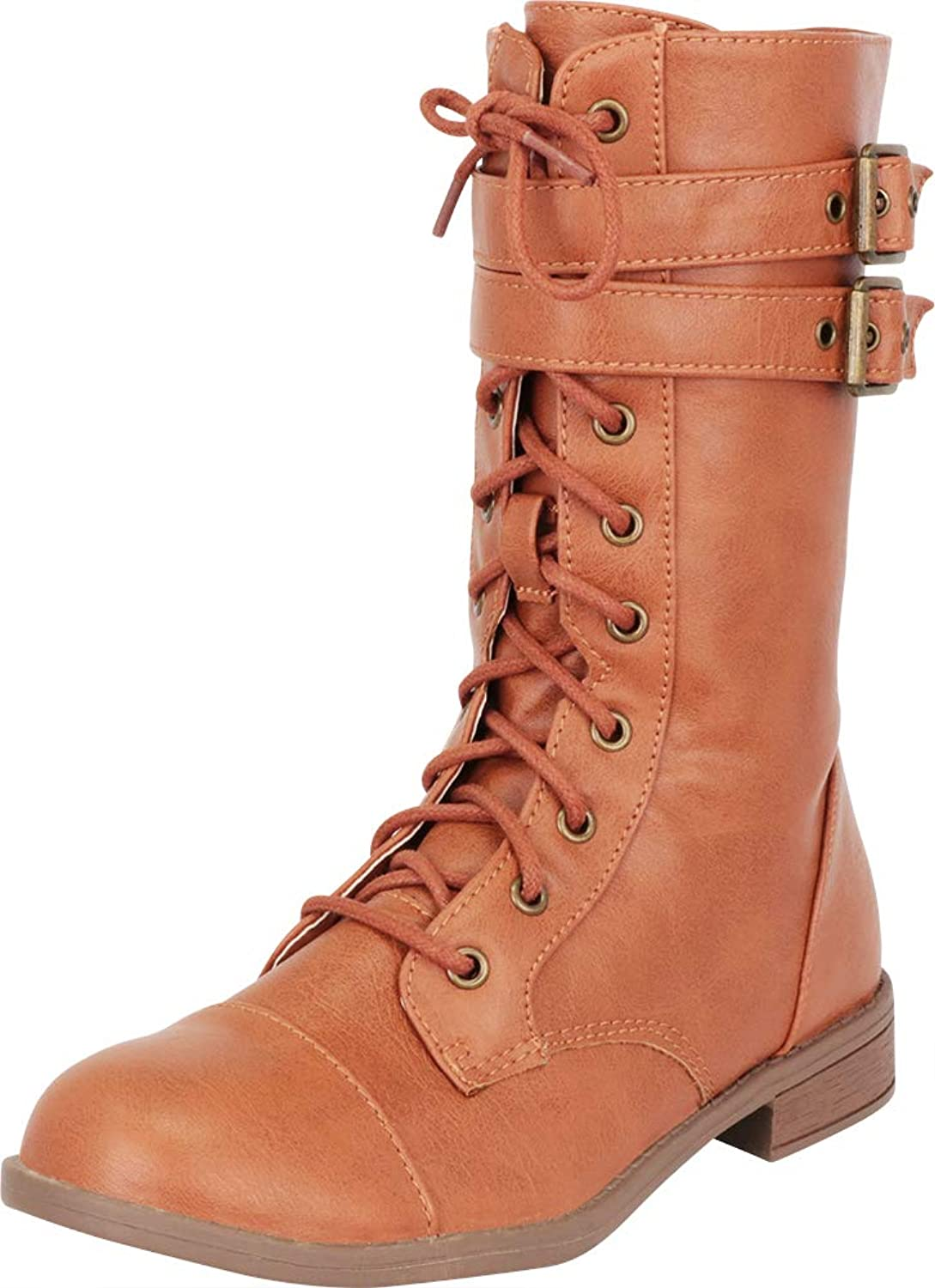 Cambridge Select Women's Strappy Double Buckle Lace-Up Low Heel Combat Boot