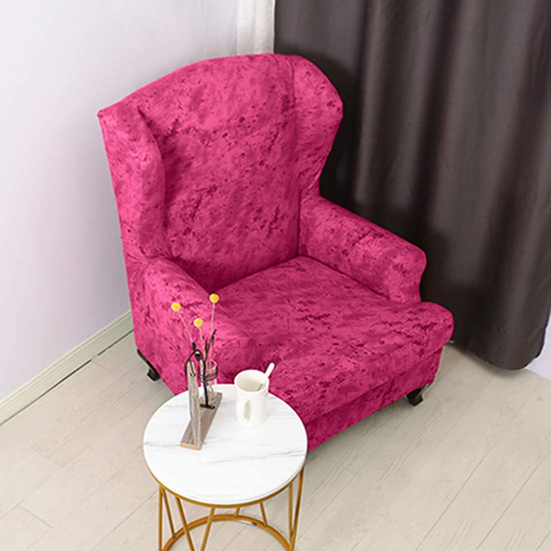 YUENA CARE 2-Piece Wing Chair Slipcovers High Stretch Wingback Armchair Chair Slipcovers Skid Resistance Spandex Furniture Protector Brick Red One Size
