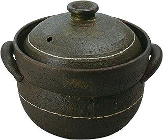 萬古焼 2重蓋 めし炊き名人 2合 (1-2合炊き) 黒釉 0705-5174