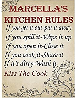 MARCELLA Kitchen rules Chef décor sign 8
