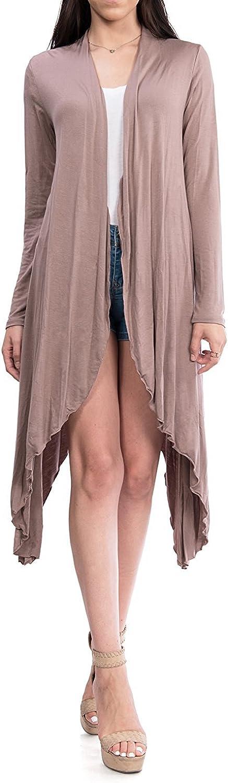 URBAN K Women's Long Sleeve Asymmetrical Drape Open Front Long Maxi Cardigan
