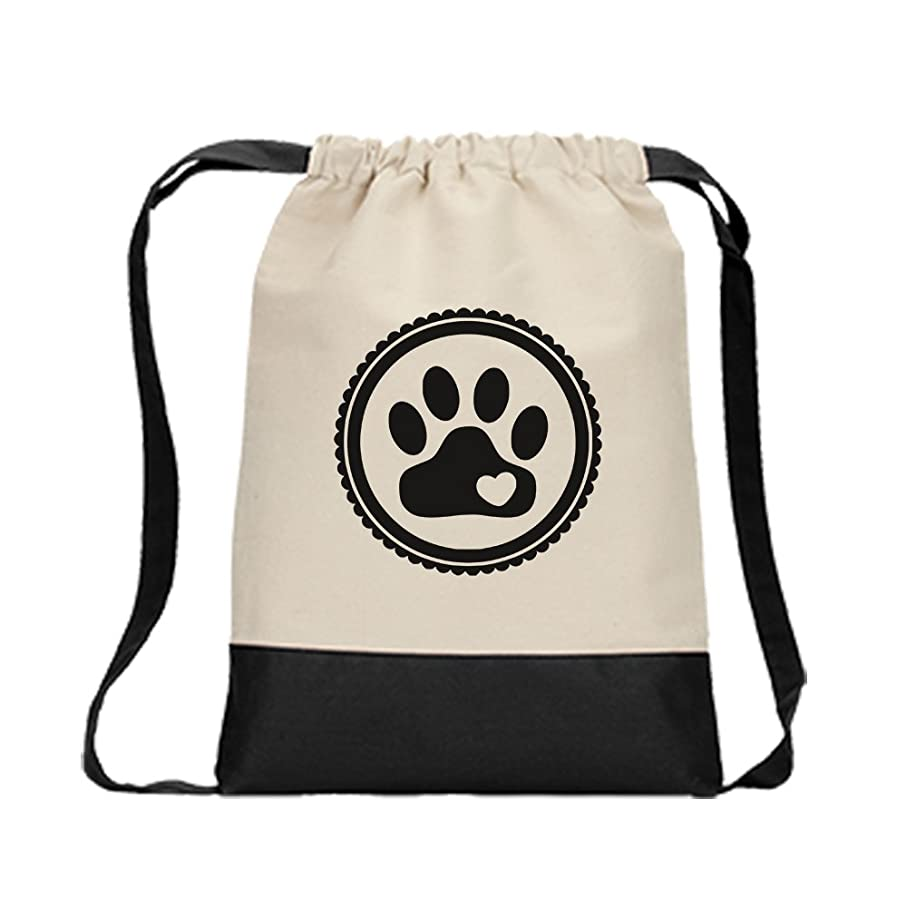 Drawstring Backpack Color Canvas Paw, Cat, Dog, Pet Style In Print Black