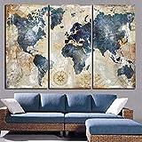FGVBWE4R Modulaire Toile Peintures Décor À La Maison 3 Pièces Carte du Monde Images HD Prints Affiche Abstraite Salon Salon Mur Art Cadre-XL