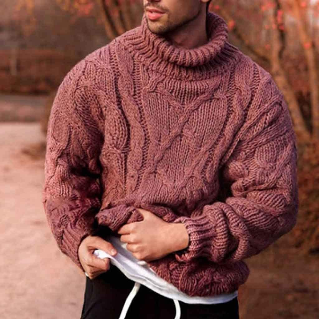 ZYING Autumn Men's Pullover Sweater Casual Soft and Comfortable Pullover Sweater Thick Warm Knitted Cool Men's Turtleneck Sweater (Color : L Code)