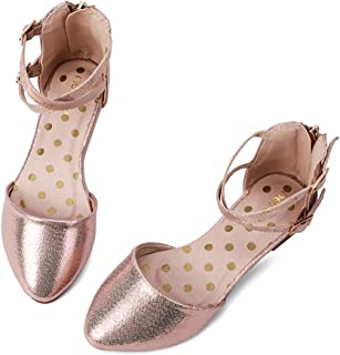 Girl's Pretty Glitter Ballet Flats Ankle Strap Dress Shoes Sandals (Toddler/Little Kid/Big Kid)