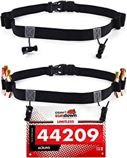 Podinor Race Number Belt, BIB Waist Hip Card Holders Running Number Belt for Triathlon, Marathon, with 6 Gel Loops to Attach Energy Gel (Pack of 2)