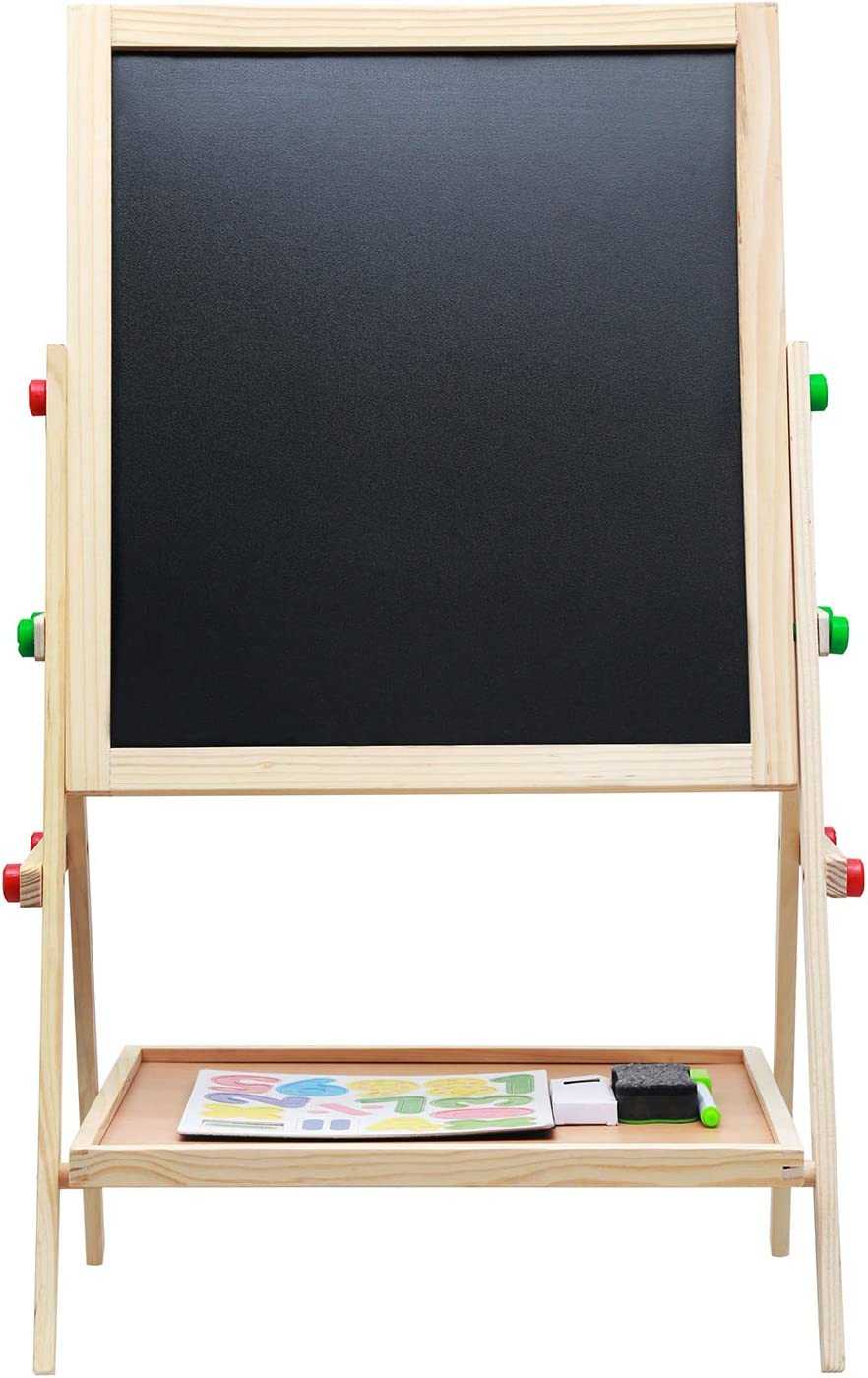 kiact Kids Wooden Easel Magnetic Whiteboard and Chalkboard Double Sided Drawing Board Adjustable Height with Lower Storage Tray Standing Easel Art Supplies Accessories