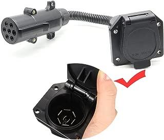 NEW SUN 7 Pole Round Pin to 7 Way Blade RV Trailer Adapter