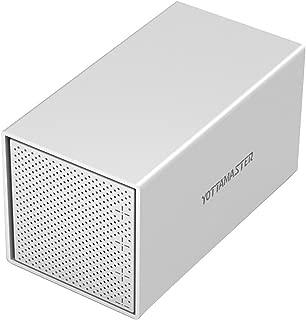 Yottamaster Aluminum Alloy 4 Bay 3.5 Inch USB3.0 External Hard Drive Enclosure SATA3.0 Support UASP -Silver