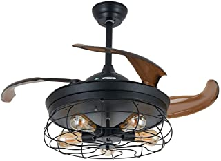 RANZIX - Ventilador de techo (42 pulgadas, invisible, con 5 bombillas Edison, con mando a distancia) (modelo 1)
