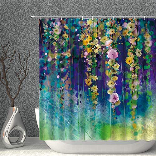 AMNYSF Abstract Watercolor Floral Shower Curtain Yellow Pink Flowers Ivy Spring Flower Nature Wildflowers Scenery Green Blue Decor Fabric Bathroom Curtains, Polyester with Hooks 70x70 Inches