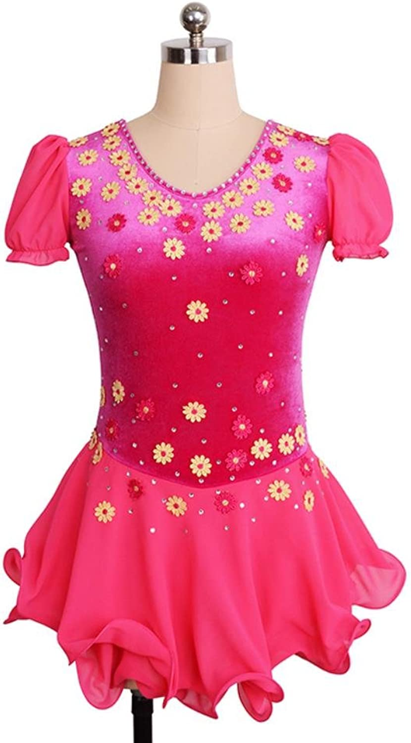 Heart&M Girl's Women's Ice Skating Dress Figure Skating Competition Performance Dress Floral Silk Velvet Short Sleeve Fushcia