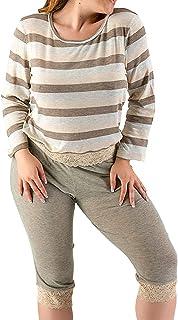 Pijama Dama 9380 Pijama Mujer Tipo Capri con Blusa de Manga Larga