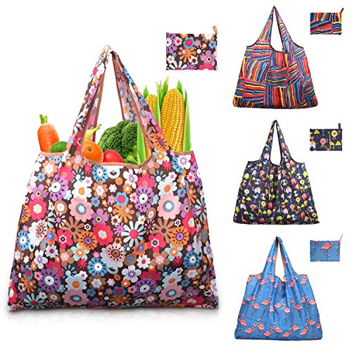 Reusable Shopping Grocery Bags Washable - Heavy Duty Shopping Bags for Groceries with Handles, Eco-Friendly Foldable Purse Bag Fits in Pocket Grocery Bag Extra Large Gift Tote Bags for Woman - 4 Pack