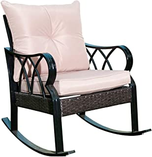 Sunlife PE Wicker Rocking Chair, Patio Rattan Reclining Chair with Thick Tan Cushion and Black Steel Frame for Outdoor, Indoor, Pool, Deck, Home, Porch Garden Lawn
