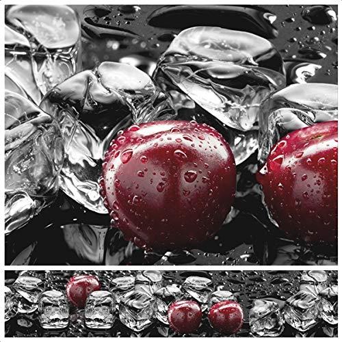 Rodnik Küchenrückwand - 60 x 300 cm - Spritzschutz - 1,6 mm - Wandverkleidung - Wandpaneele - ABS Kunststoff (Eiswürfel und Kirschen) GU31