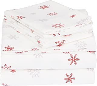 170 GSM Holiday Printed Flannel Sheet Set, Falling Snowflake Merlot, Queen
