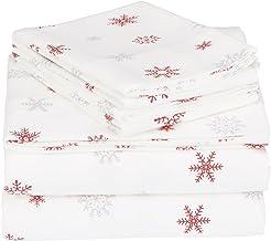 Pinzon Cotton Flannel Bed Sheet Set - Queen, Falling Snowflake Merlot