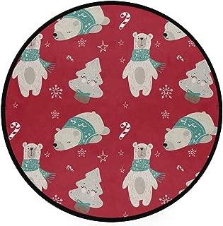YOLIKA Home Decor Light Round Area Rug, Seamless Pattern Woodland Animals Vector Polar ,Super Soft Circle Carpet (3'Diameter)