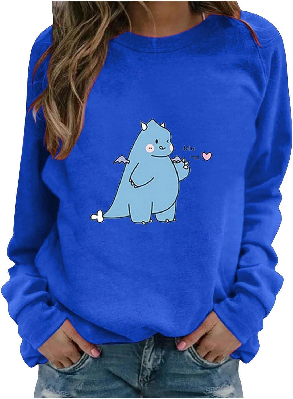Toeava Long Sleeve Shirts for Women Casual Graphic Tee Shirts Crew Neck Sweatshirts Cute Dinosaur Pullover Tunic Tops