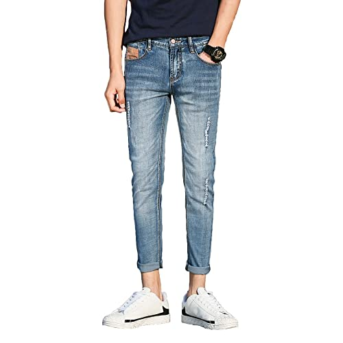 6d2e4e034d9 Plaid&Plain Men's Distressed Skinny Jeans Ripped Jeans for Guys Cropped  Jeans