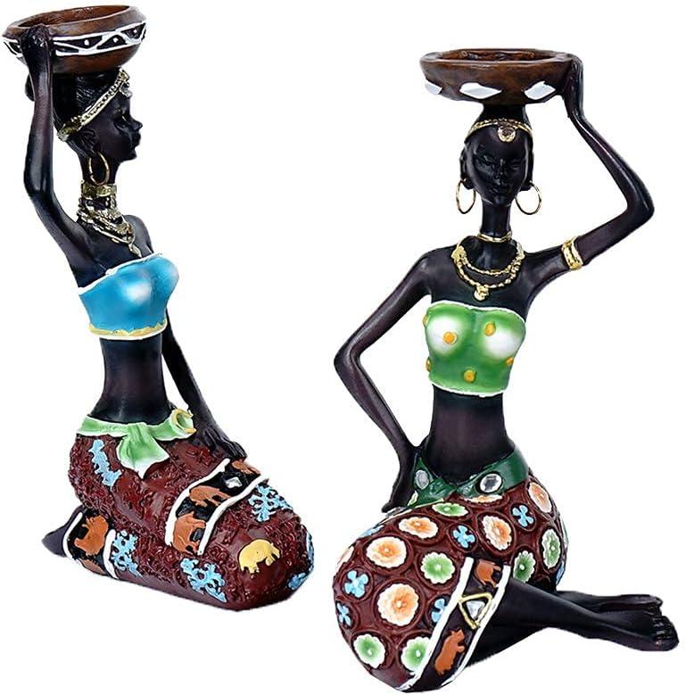 favorite African Style Statue Black Candlestick Regular store Deco Woman European