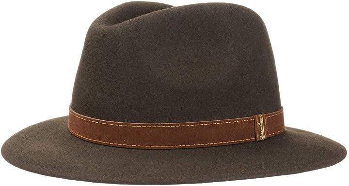 Cappello borsalino traveller marrone donna/uomo - fedora feltro di pelo vacanza con fascia in pelle estate/inv 390060-380