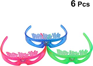 Amosfun 6PCS Happy New Year Light Up Glasses Funny New Year LED Glasses Flashing Sunglasses Party Favors for New Year Christmas Party Supplies (Random Color)
