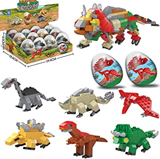 LGUIY Dinosaur Toys, 12 Mini Dinosaur Eggs Building Blocks Toys 6 in 1 Educational Toys Christmas Birthday Present Dinosau...